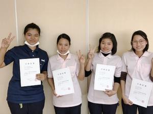 【介護】技能評価試験初級にミャンマー人4名全員合格しました